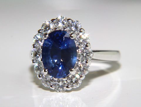 Campbell Oval Blue Sapphire & Diamond Cluster Engagement Ring 3.63ct - Campbell Jewellers  - 1