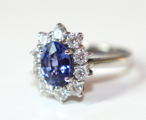 Campbell Oval Blue Sapphire & Diamond Cluster Engagement Ring - Campbell Jewellers  - 1