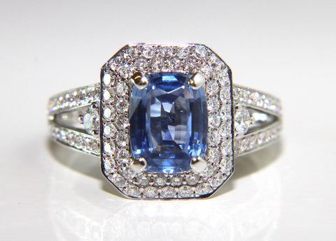 Campbell Oval Blue Sapphire & Diamond Double Halo Engagement Ring 2.57ct - Campbell Jewellers  - 1