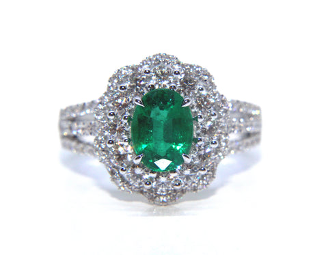 18ct White Gold Oval Emerald Diamond Ring 2.09ct - Campbell Jewellers