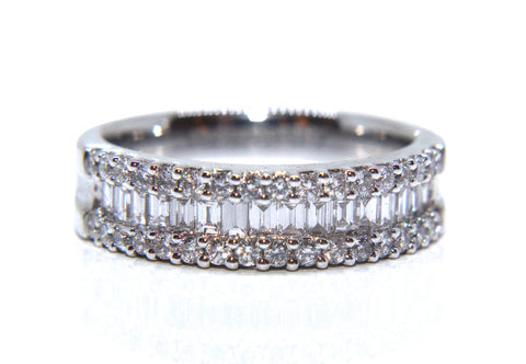 18ct White Gold Round Brilliant And Baguette Diamond Eternity Ring 0.83ct Campbell Jewellers