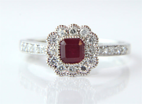 Campbell White Gold Ruby Diamond Vintage Style Halo Ring - Campbell Jewellers  - 1