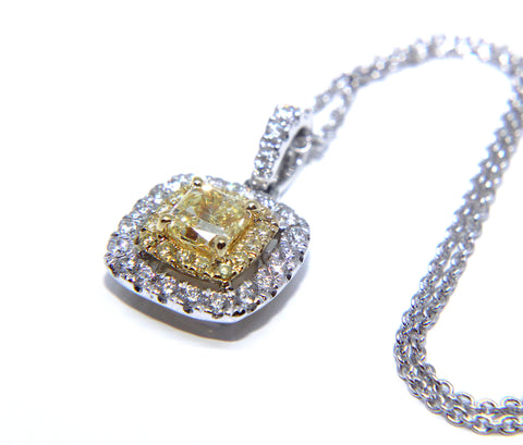 Fine 18ct White Gold Yellow Diamond Necklace 0.84ct - Campbell Jewellers