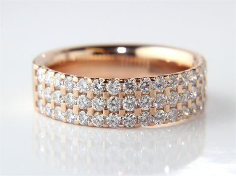 Campbell Rose Gold 3 Row Wedding & Eternity Ring 1.05ct - Campbell Jewellers - 10