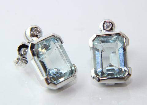 Campbell Fine Diamond & Aquamarine 18ct White Gold Earrings 5.63ct - Campbell Jewellers  - 1
