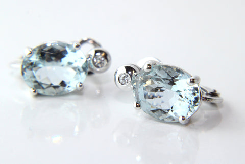 Campbell Fine Diamond & Aquamarine 18ct White Gold Earrings 4.43ct - Campbell Jewellers  - 1