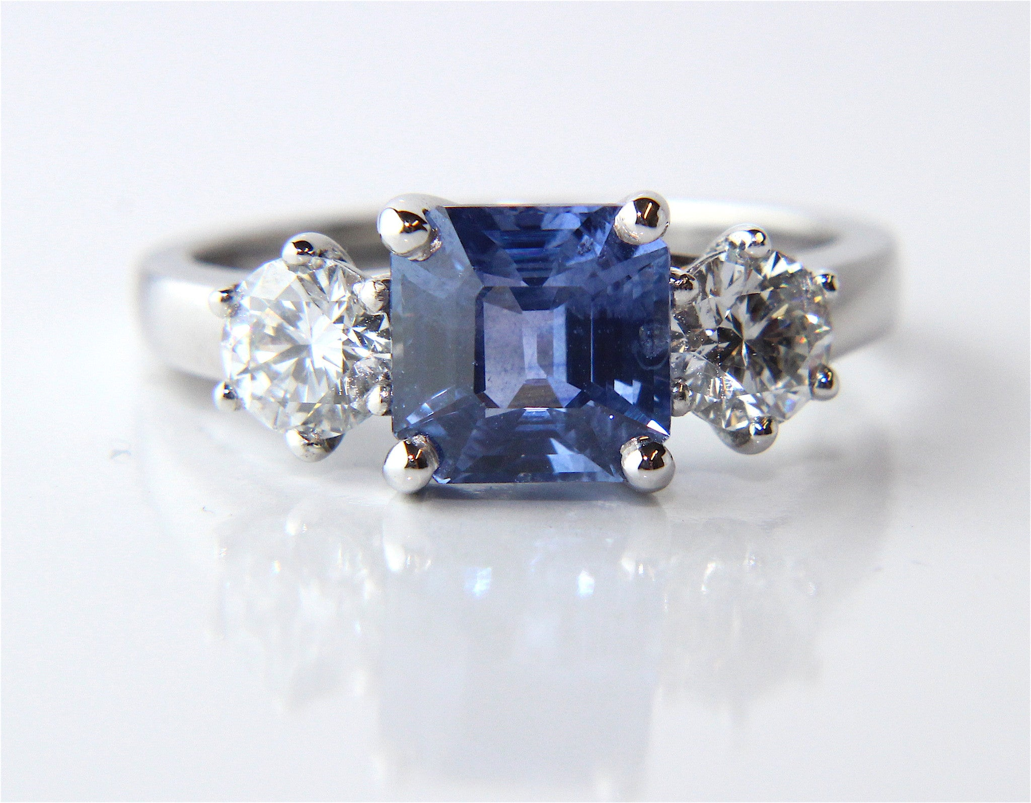sapphire art french deco diamond and asscher engagement pin cut ring