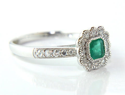 Campbell White Gold Emerald Diamond Vintage Style Halo Ring - Campbell Jewellers  - 1