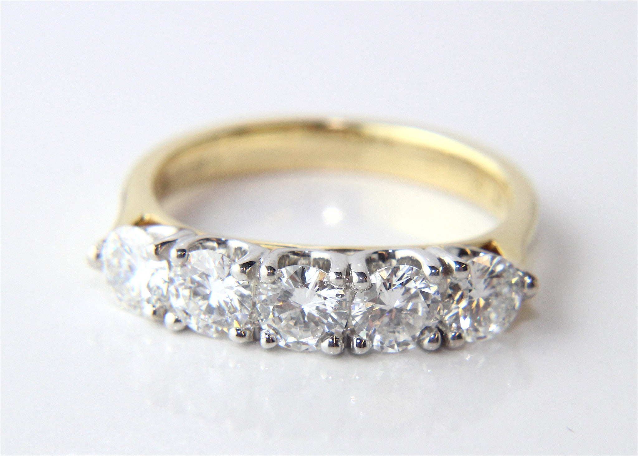 nl yg yellow white bands eternity diamond cut band in radiant gold ring jewelry with carat