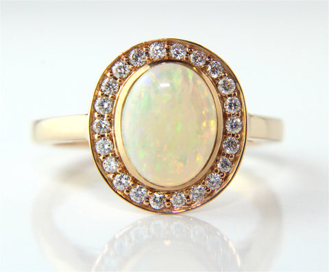 Campbell 18ct Rose Gold Opal & Diamond Ring 1.45ct - Campbell Jewellers  - 1