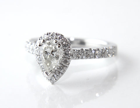 Campbell White Gold Pear Halo Diamond Engagement Ring 0.91ct