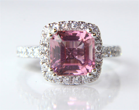 Campbell Pink Asscher Cut Morganite & Diamond Ring 1.98ct - Campbell Jewellers  - 1