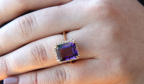 Campbell Emerald Cut Amethyst Rose Gold Diamond Ring 5.05ct
