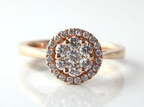 Campbell Rose Gold Halo Cluster Diamond Engagement Ring 0.51ct - Campbell Jewellers  - 1