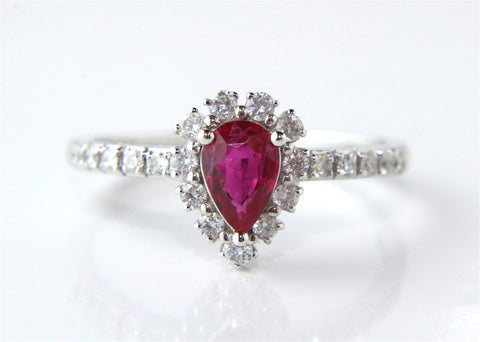 Campbell 18ct White Gold Ruby Pear Engagement Ring 0.71ct - Campbell Jewellers - 2