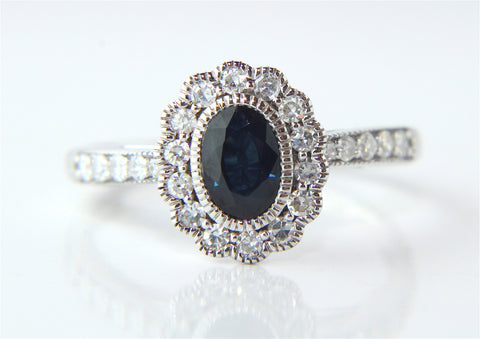 Campbell White Gold Sapphire Diamond Vintage Style Halo Ring - Campbell Jewellers  - 1