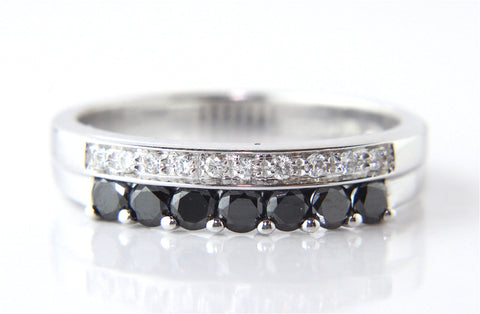 Campbell Black Sapphire & Diamond Ring 18ct White Gold