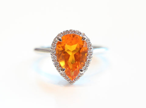 Campbell Fire Opal Pear Cut Diamond Ring in 18ct White Gold - Campbell Jewellers  - 1