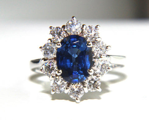 Campbell Oval Blue Sapphire & Diamond Cluster Engagement Ring 3.20ct - Campbell Jewellers  - 1