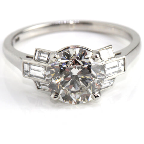 Campbell Platinum Art Deco Inspired Diamond Engagement Ring 2.42ct Campbell Jewellers