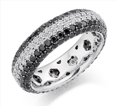 Campbell Jewellers Platinum Black & White Diamond Wedding/Eternity Ring 3.15ct