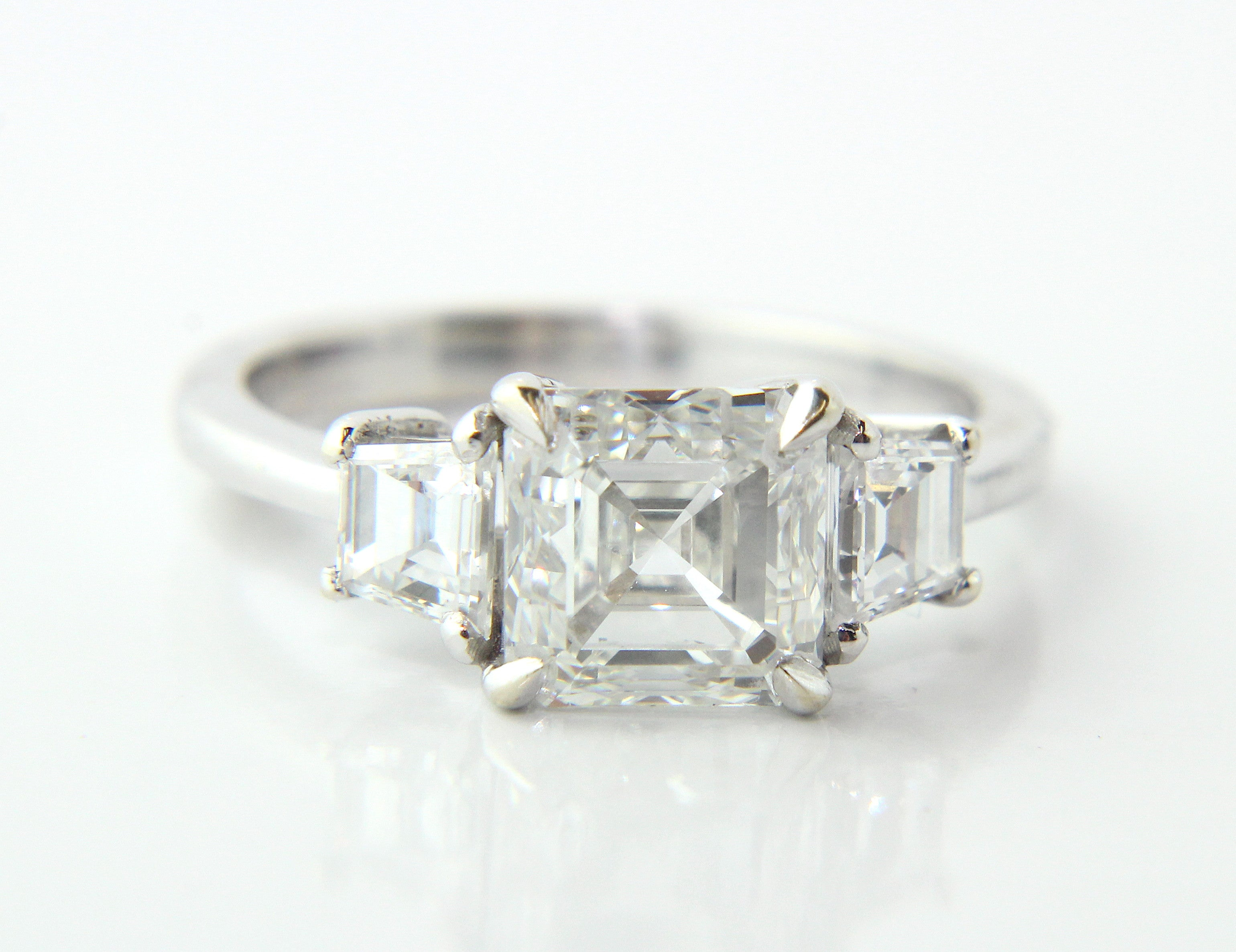flat asscher diamond cut white a g created lab gold ring rings jewellery classic engagement with