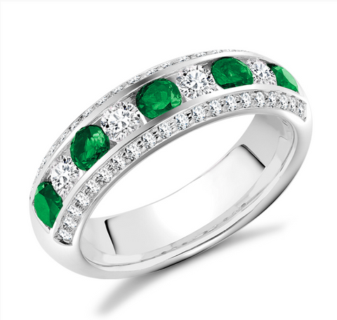 Campbell Jewellers Platinum Emerald & Diamond Wedding/Eternity Ring 1.20ct