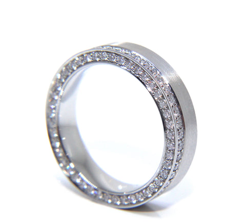 Platinum Matte Round Brilliant Eighty Eight Diamond Ring 0.84ct