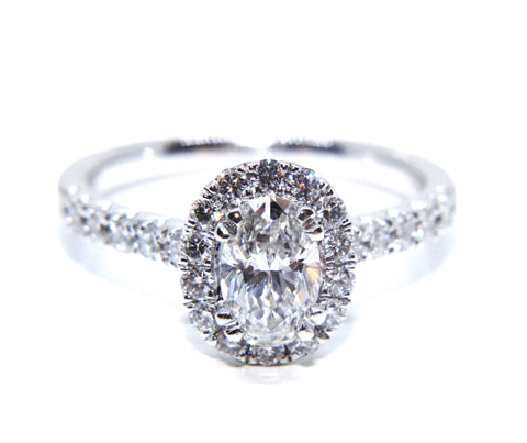 Campbell Platinum Oval Halo Diamond Engagement Ring 1.16ct