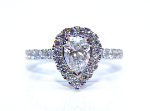Classic Platinum Pear Halo Diamond Engagement Ring 1.28ct - Campbell Jewellers