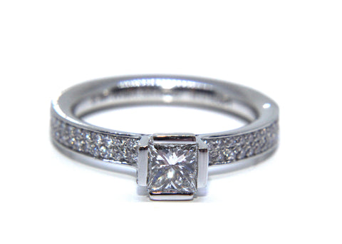 Platinum Princess Square Solitaire Pave Diamond Engagement Ring