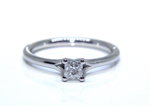 Platinum Princess Square Solitaire Diamond Engagement Ring