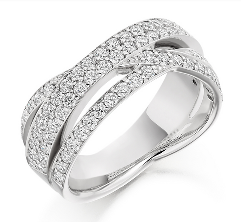Campbell Jewellers Platinum Round Brilliant Crossover Diamond Eternity Ring 1.15ct