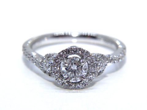 Campbell Platinum Round Brilliant Diamond Halo Wave Engagement Ring 0.85ct