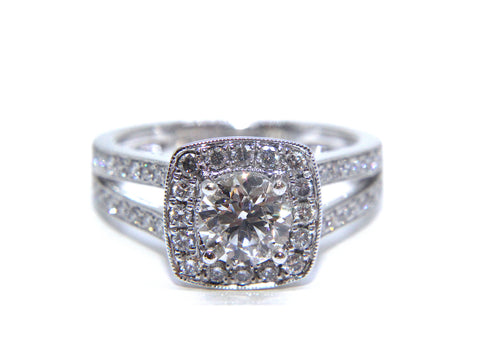Campbell Platinum Round Brilliant Diamond Halo Split Shoulder Engagement Ring 1.41ct