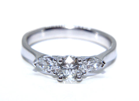 Platinum Round Brilliant & Pear Diamond Engagement Ring 1.00ct - Campbell Jewellers