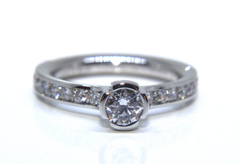 Platinum Round Brilliant Solitaire Pave Diamond Engagement Ring