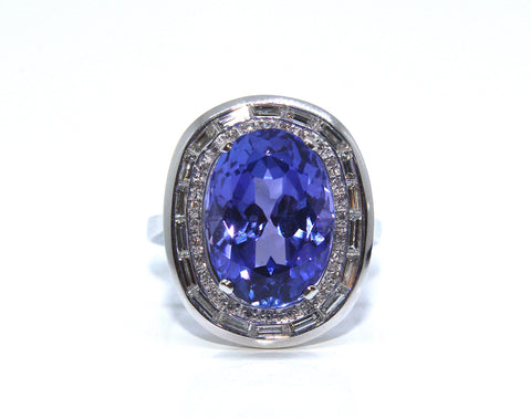 Platinum Oval Tanzanite & Diamond Ring 9.18ct - Campbell Jewellers