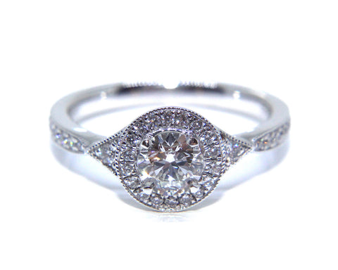 Campbell Platinum Vintage Inspired Round Halo Diamond Engagement Ring 0.78ct