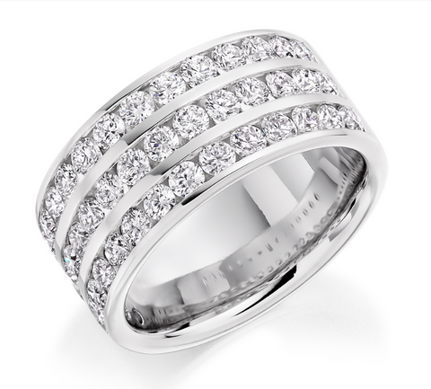 Campbell Jewellers Platinum Wide 3 Row Wedding/Eternity Ring 2.00ct