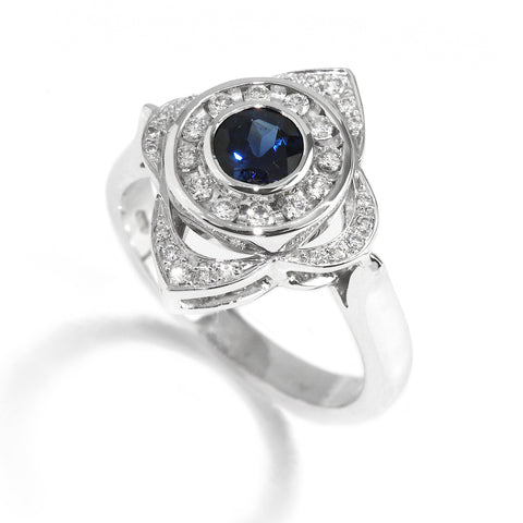 18k White Gold Sapphire Diamond Target Ring Ronan Campbell