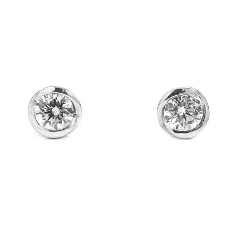 18k White Gold Diamond Rosebud Stud Earrings Ronan Campbell