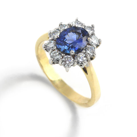Ronan Campbell Sapphire Diamond Cluster Ring