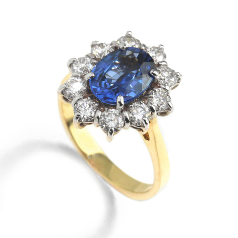 Ronan Campbell Blue Sapphire Cluster Ring