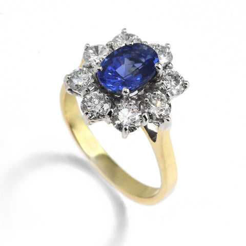 18k Yellow & White Gold Sapphire Diamond Ring