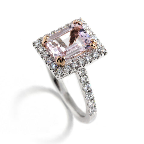 Platinum Morganite Halo Diamond Ring Ronan Campbell
