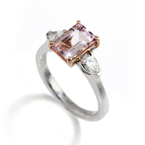 Platinum Morganite Pear Diamond Ring Ronan Campbell