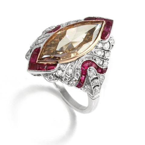 Ronan Campbell Marquise Brown Diamond Ruby Ring