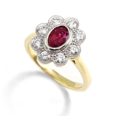 Ronan Campbell Ruby & Diamond Cluster Ring