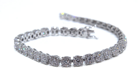 Campbell Fine 18ct White Gold Diamond Tennis Bracelet 3.5ct